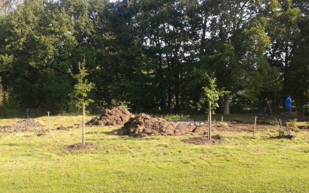 Die Bauarbeiten für den Grill- und Spielplatz haben begonnen